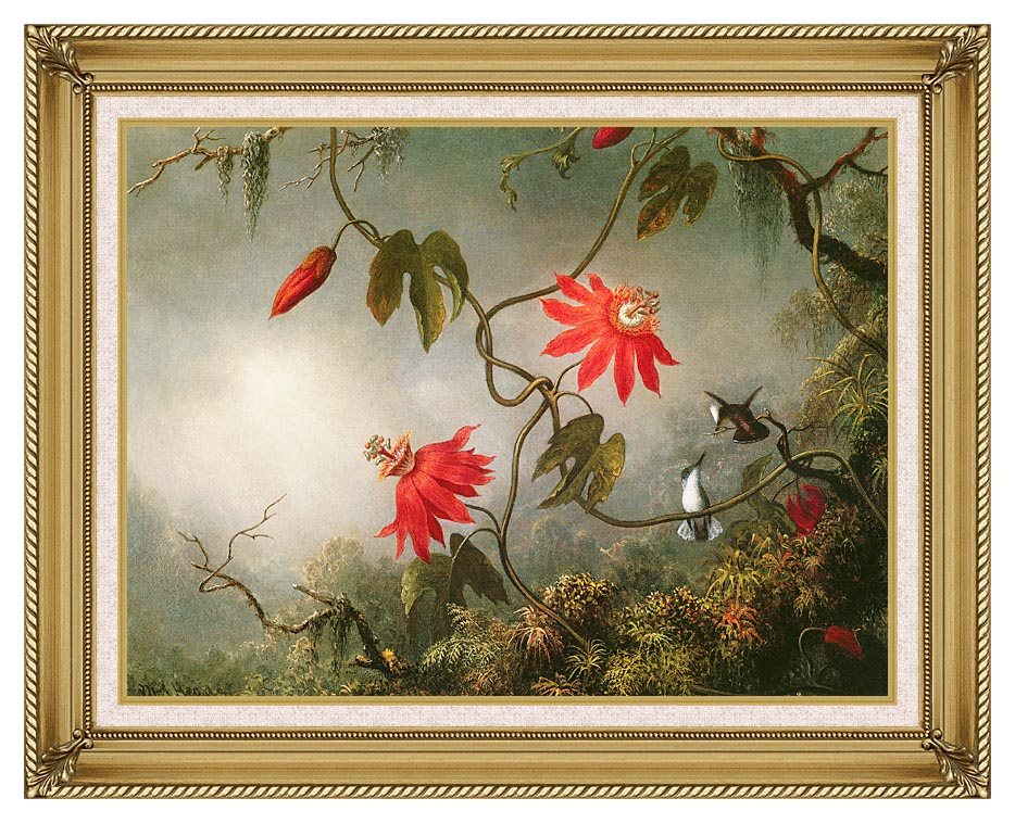 Martin Johnson Heade Passion Flowers and Hummingbirds with Gallery Gold Frame w/Liner