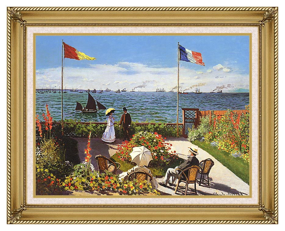 Claude Monet Terrace at Sainte-Adresse with Gallery Gold Frame w/Liner