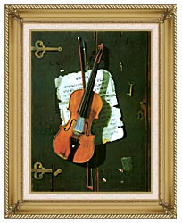 John Frederick Peto The Old Violin canvas with gallery gold wood frame