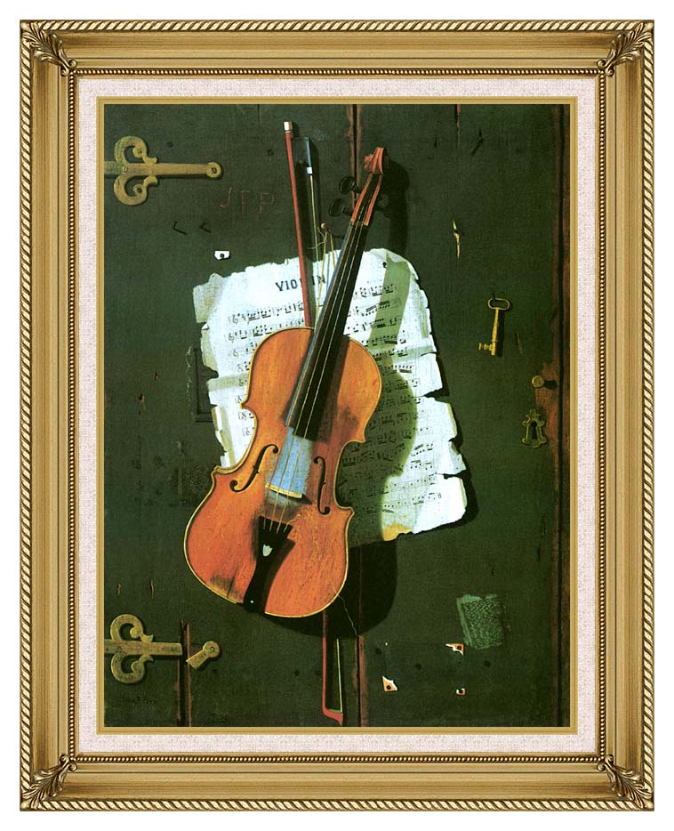 John Frederick Peto The Old Violin with Gallery Gold Frame w/Liner