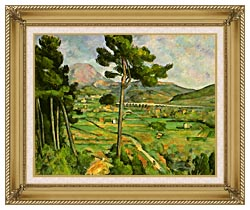 Paul Cezanne Mont Sainte Victoire Seen From Bellevue canvas with gallery gold wood frame