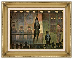 Georges Seurat Invitation To The Sideshow canvas with gallery gold wood frame