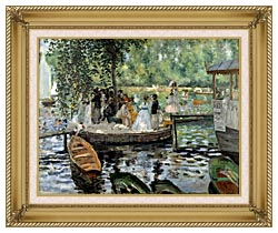 Pierre Auguste Renoir La Grenouillere canvas with gallery gold wood frame