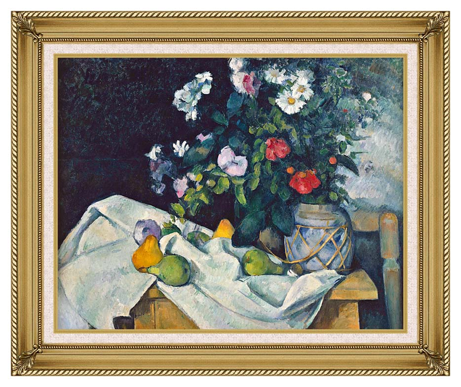 Paul Cezanne Flowers and Pears with Gallery Gold Frame w/Liner