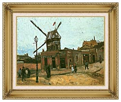 Vincent Van Gogh Le Moulin De La Galette canvas with gallery gold wood frame