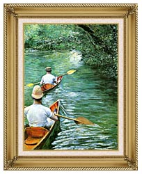Gustave Caillebotte Canoeing canvas with gallery gold wood frame