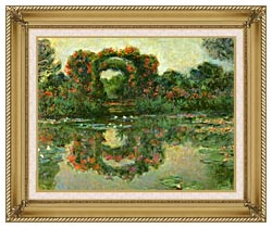 Claude Monet The Flowering Arches Giverny Detail canvas with gallery gold wood frame