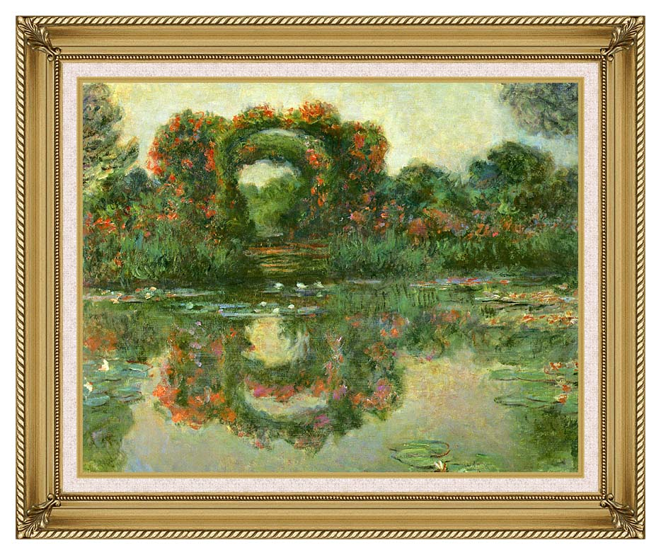 Claude Monet The Flowering Arches, Giverny (detail) with Gallery Gold Frame w/Liner