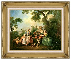 Nicolas Lancret The Birdcage canvas with gallery gold wood frame