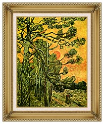 Vincent Van Gogh Pine Trees Against A Red Sky With Setting Sun canvas with gallery gold wood frame