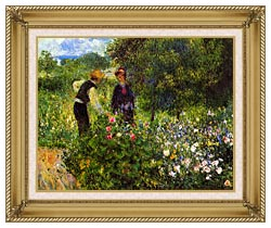 Pierre Auguste Renoir Conversation With The Gardener canvas with gallery gold wood frame