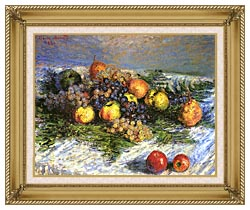 Claude Monet Pears And Grapes canvas with gallery gold wood frame