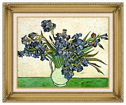 Vincent Van Gogh Still Life Vase With Irises canvas with gallery gold wood frame