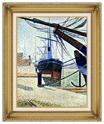 Georges Seurat The Harbor At Honfleur canvas with gallery gold wood frame