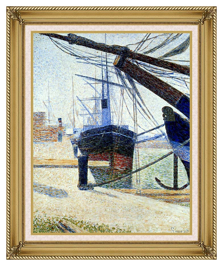 Georges Seurat The Harbor at Honfleur with Gallery Gold Frame w/Liner