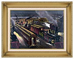 Currier And Ives Night Scene At A Railroad Junction canvas with gallery gold wood frame