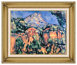 Paul Cezanne Mont Sainte Victoire Seen From Bibemus canvas with gallery gold wood frame