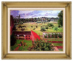 Camille Pissarro View From The Artists Window At Eragny canvas with gallery gold wood frame