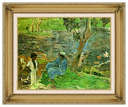 Paul Gauguin By The Pond canvas with gallery gold wood frame