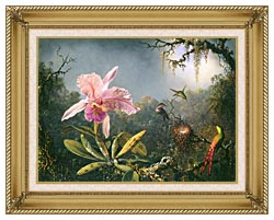 Martin Johnson Heade Cattleya Orchid And Three Brazilian Hummingbirds canvas with gallery gold wood frame