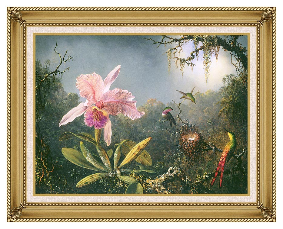 Martin Johnson Heade Cattleya Orchid and Three Brazilian Hummingbirds with Gallery Gold Frame w/Liner