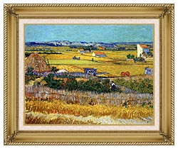 Vincent Van Gogh Harvest At La Crau canvas with gallery gold wood frame