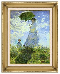 Claude Monet Woman With A Parasol canvas with gallery gold wood frame