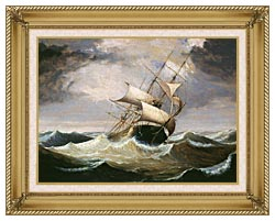Fitz Hugh Lane Three Master On Rough Sea canvas with gallery gold wood frame