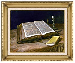 Vincent Van Gogh Still Life With Open Bible canvas with gallery gold wood frame