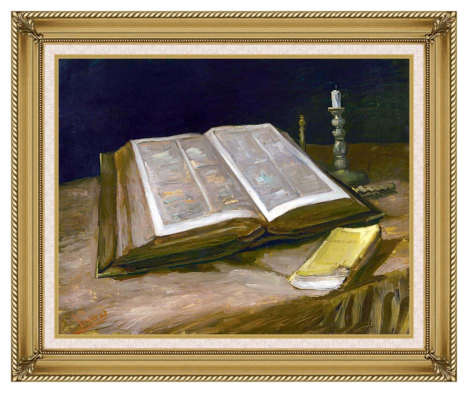 Vincent van Gogh Still Life with Open Bible with Gallery Gold Frame w/Liner