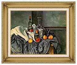 Paul Cezanne Still Life With Peppermint Bottle canvas with gallery gold wood frame