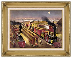 Currier And Ives Night Scene At An American Railway Junction canvas with gallery gold wood frame