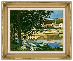 Claude Monet On The Seine At Bennecourt canvas with gallery gold wood frame