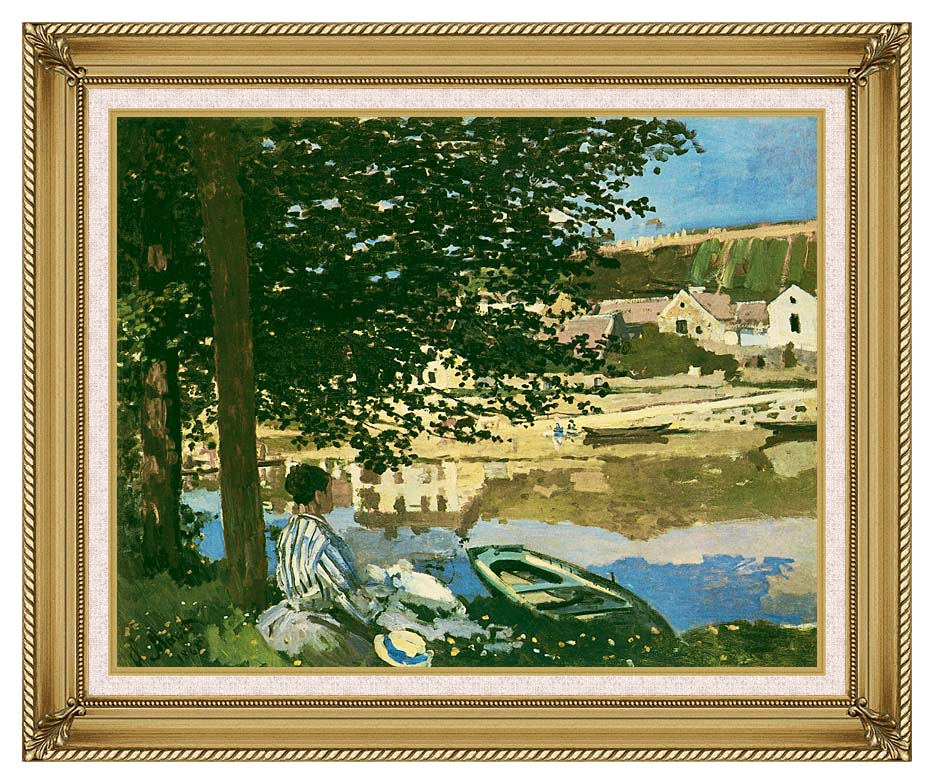 Claude Monet On the Seine at Bennecourt with Gallery Gold Frame w/Liner