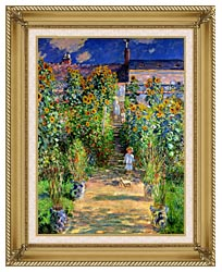 Claude Monet The Artists Garden At Vetheuil canvas with gallery gold wood frame