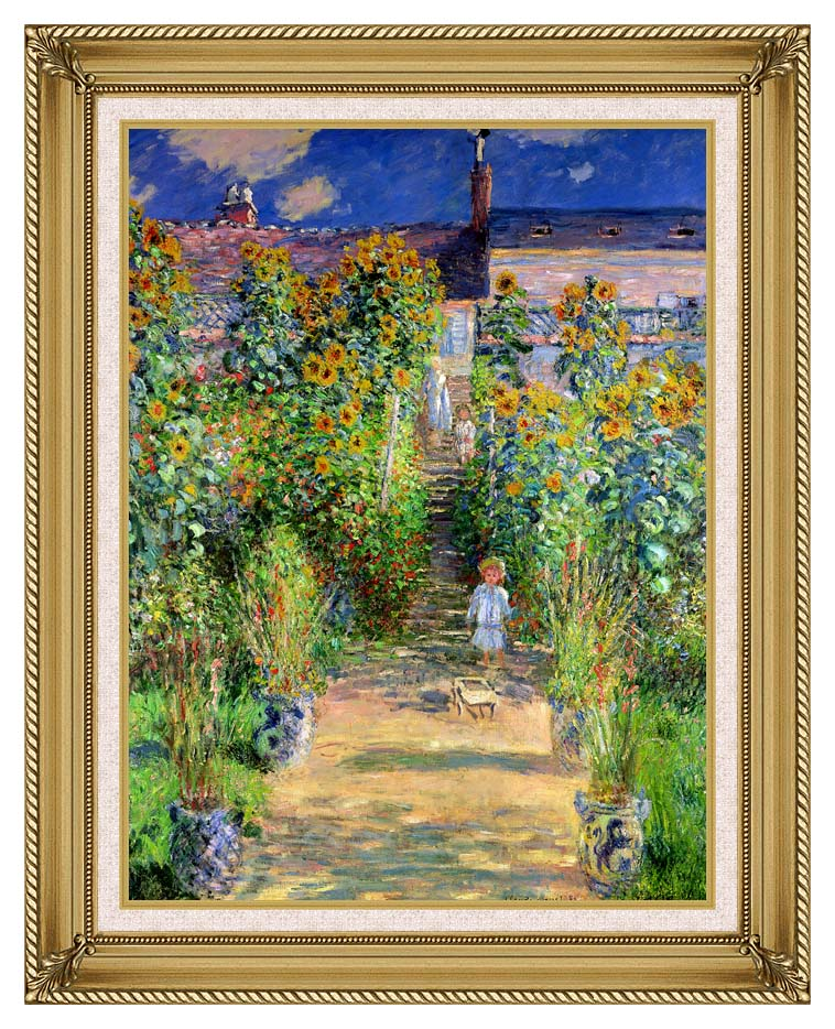 Claude Monet The Artist's Garden at Vetheuil with Gallery Gold Frame w/Liner