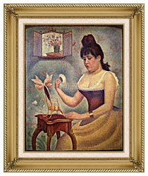 Georges Seurat Young Woman Powdering Herself canvas with gallery gold wood frame
