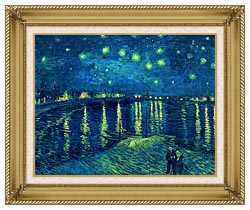 Vincent Van Gogh Starry Night Over The Rhone canvas with gallery gold wood frame