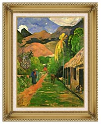 Paul Gauguin Street In Tahiti canvas with gallery gold wood frame