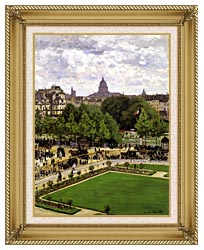 Claude Monet Garden Of The Princess Louvre canvas with gallery gold wood frame