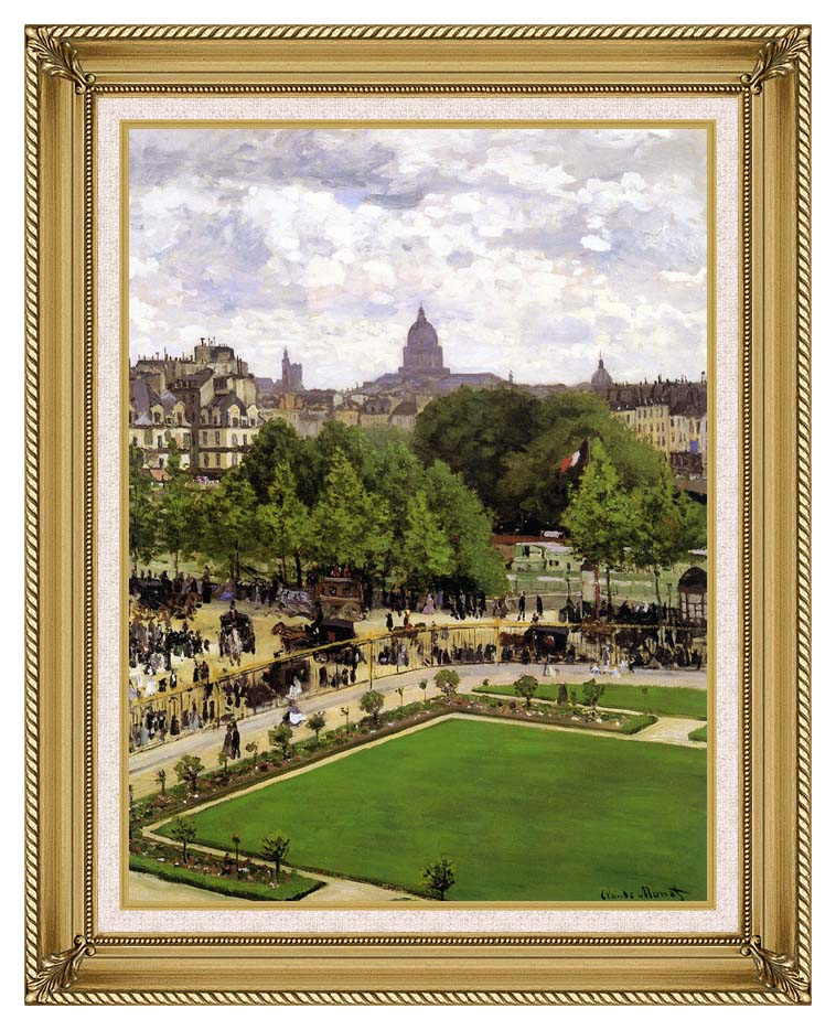 Claude Monet Garden of the Princess, Louvre with Gallery Gold Frame w/Liner