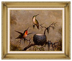 Martin Johnson Heade Hummingbirds And Their Nest canvas with gallery gold wood frame