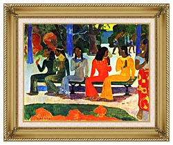 Paul Gauguin We Shall Not Go To Market Today canvas with gallery gold wood frame