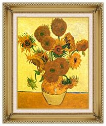 Vincent Van Gogh Still Life Vase With Fourteen Sunflowers canvas with gallery gold wood frame