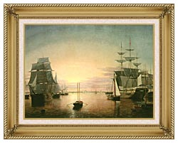 Fitz Hugh Lane Boston Harbor At Sunset canvas with gallery gold wood frame