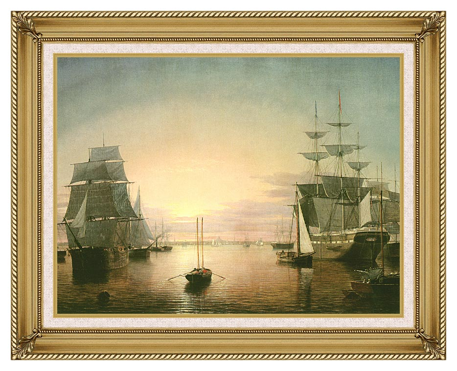Fitz Hugh Lane Boston Harbor at Sunset with Gallery Gold Frame w/Liner