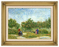 Vincent Van Gogh Courting Couples In A Public Park In Asnieres canvas with gallery gold wood frame