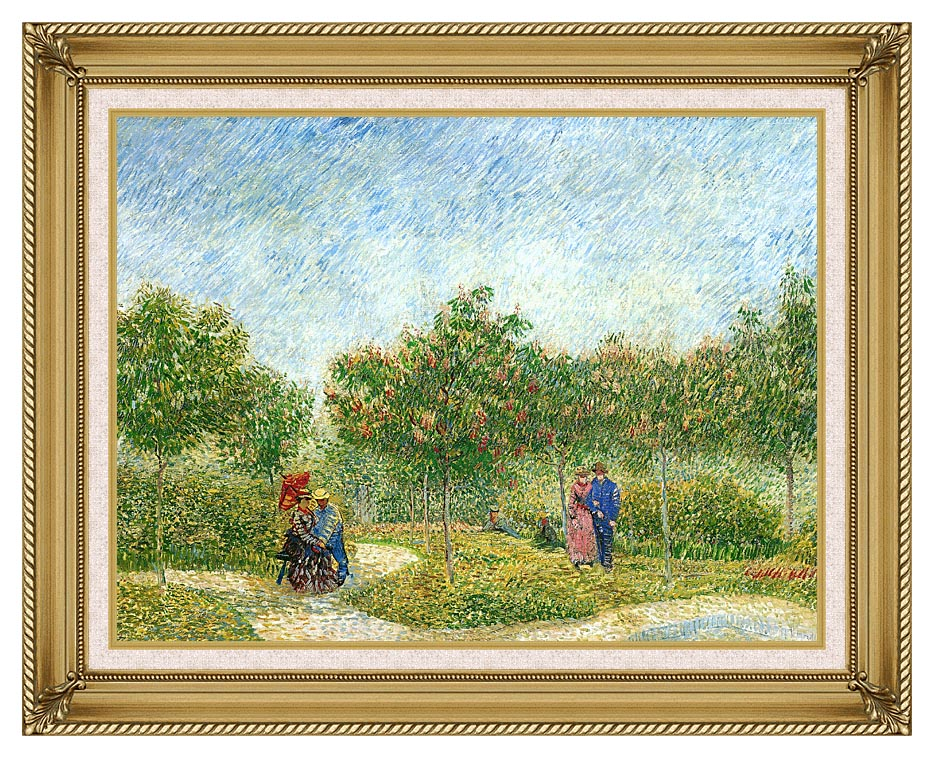 Vincent van Gogh Courting Couples in a Public Park in Asnieres with Gallery Gold Frame w/Liner