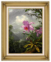 Martin Johnson Heade Hummingbird Perched On The Orchid Plant canvas with gallery gold wood frame