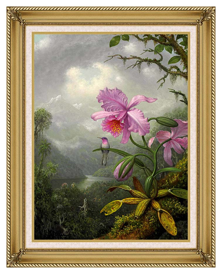 Martin Johnson Heade Hummingbird Perched on the Orchid Plant with Gallery Gold Frame w/Liner